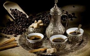 coffee, teapot, cup, grain, tray, cinnamon, spatula, sugar