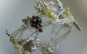 macro, decoration, bracelet, metal, Pinstripes, clusters, grapes