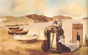 Сальвадор Дали, Отнятие от груди, питающей мебелью-кормом, картина, художник, сюрреализм, дерево, масло, лодки, лодка, женщина, тумбочка, горы, водоем