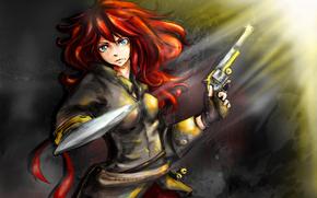 girl, Ginger, hair, gun, blade