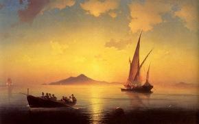 coucher du soleil, navires, mer,