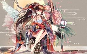 пионы, крылья, цветы, луна, девушка, фонарь, абстракция, кимоно, красная нить, сакура