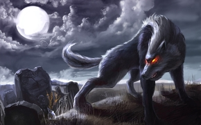 wolf, night, moon, burning eyes, tombstones, web
