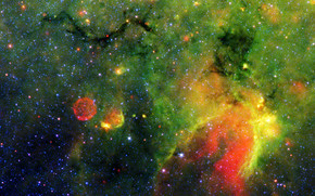 space, nebula, gas, green