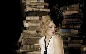 Madonna, cantante, attrice, faccia, vista, Labbra, cappello, cilindro, mouse, libri, sfondo, Camionetta
