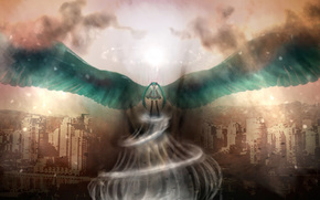 Art, Hatsune Miku, Vocaloid, girl, wings, city, vortex, sky, clouds