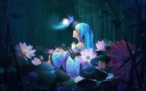 Arte, ragazza, seduta, foresta, fata, fiori, loto, bamb, pioggia