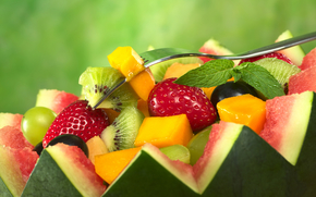 fruit salad, fruit, Berries, watermelon, strawberry, kiwi