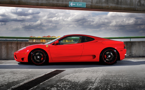 Ferrari, rouge, profil, ciel, nuages, parking, Ferrari