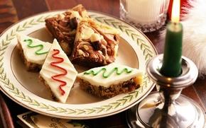 печенье, молоко, тарелка, свеча