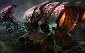 арт, город, корабль, планеты, гигантсикй