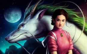 Art, Spirited Away, anime, Chihiro, hack, Spirit River, Hayao Miyazaki, dragon, girl, moon