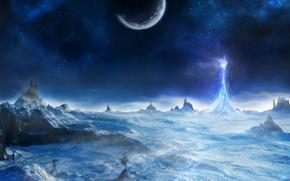 арт, снег, холод, пик, свет, луч, гора, деревья, скалы, планета