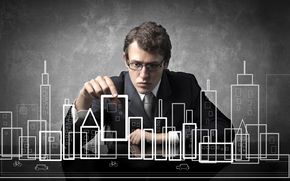 brown-haired person, attentiveness, glasses, layout, city, Creativity