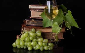 prog, grapes, liana, Books, goblet, wine, table