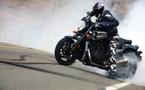 Bike, Yamaha, smoke, Biker