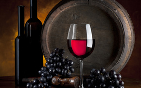 barrel, table, wine, goblet, grapes
