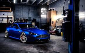 Aston Martin, vantazh, Supercar, blau, Front, Garage, Aston Martin