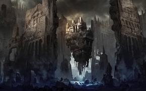 Art, ruins, castle, fortress, river, stones, in the sky, man, debris, fog, haze