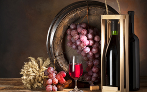 barrel, grapes, bunch, box, bottle, goblet, wine, table