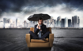man, suit, tie, chair, umbrella, rain, city, Lightning, water