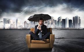 人, 诉讼, 领带, 椅子, 伞, 雨, 城市, 闪电, 水