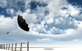 sky, clouds, wind, fence, spokes, umbrella, flight