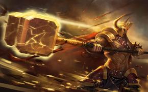 Warrior, hammer, strike, Meteorites, Lightning, armor, Horn