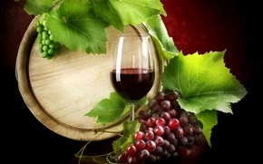 wine, red, goblet, grapes, list, barrel