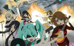 вокалоид, Хатсуне Мику, девушки, группа, аниме, гитара, самолёты, взрывы, огонь