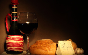 bottle, goblet, wine, red, cheese, bread, onion, garlic