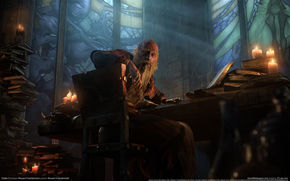 Tristram Cathedral, Deckard Cain, Books, Grandfather, old man, view, Candles