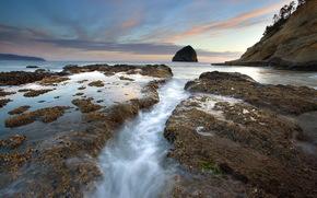 море, закат, камни, пейзаж