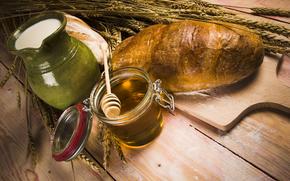баночка, мёд, пестик, кувшин, молоко, колосья, хлеб, мука, стол, аппетитно