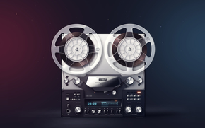 Olympus, recorder, stereo, retro, Coil, film, Button, Rendering