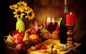 wine, red, goblet, Nuts, strawberry, corkscrew, candle, bottle, basket, fruit, pears, apples, grapes, still life