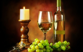 wine, White, goblet, bottle, corkscrew, candle, grapes