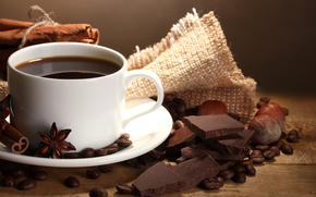 coffee, grain, cup, chocolate, Nuts, Spices, cinnamon, anise