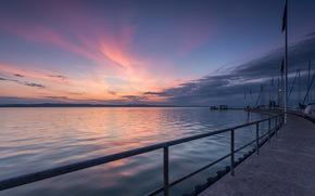wharf, bay, night, landscape