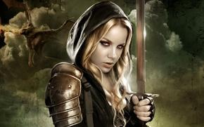 fantasia, ragazza, Guerriero, spada