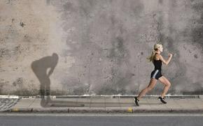 sport, ragazza, stato d'animo, Anima, muro, fatica, forza di volont