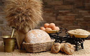 eggs, grain, buns, bread, Flour, scales, mortar
