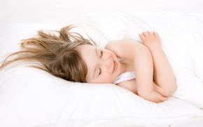 малышка, ребёнок, сон, улыбка, подушка, одеяло
