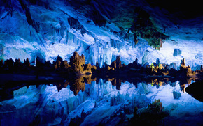 cave, grotto, Stalactites, STALOGMITY, Relief, water, surface, mirror, reflection