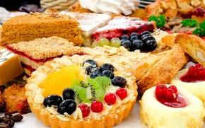 cake, tartlet, fruit, Berries, kiwi, grapes, currant, Cakes, dessert, sweet, baking