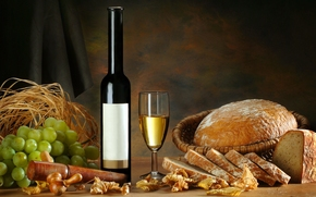 wine, White, goblet, bottle, bread, grapes, leaves