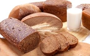 хлеб, выпечка, батон, пшеница, молоко