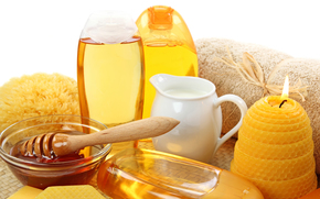 мед, молоко, гели, свеча, полотенце
