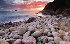 tramonto, mare, pietre, paesaggio