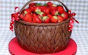 еда, пища, ягоды, клубника, корзинка, красный, коричневый